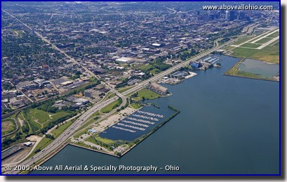 Aerial photo of a possible location of the new Port of Cleveland