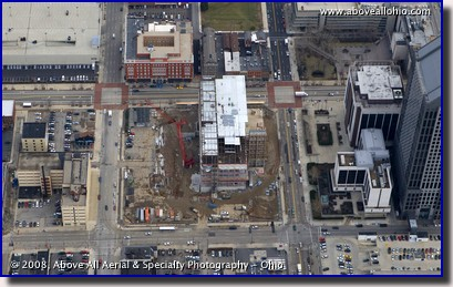 Aerial photograph of the new Franklin County court house under construction in Columbus, Ohio