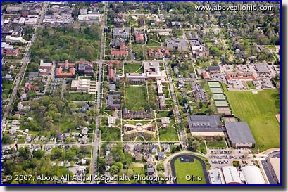 Aerial photo of Oberlin College in Oberlin, Ohio