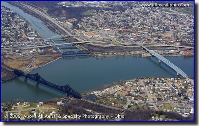 Aerial photo of Beaver, PA, where the Beaver River empties into the Ohio River