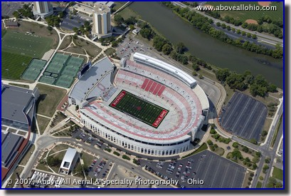 Aerial photograph of Ohio Stadium on the campus of The Ohio State University