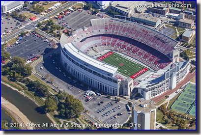 An aerial photo of Ohio Stadium in Columbus prior to a football game.