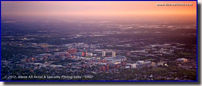 A panoramic aerial view of The Ohio State Univeristy's main campus in Columbus, Ohio, taken at sunset.