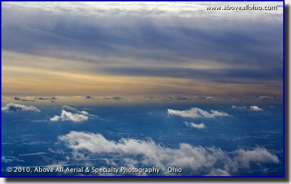 Aerial photo of cold winter skies - overcast altostratus with a few scattered cumulus clouds