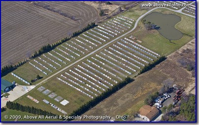 Aerial photo of a paint and finish weather research facility near Medina, OH