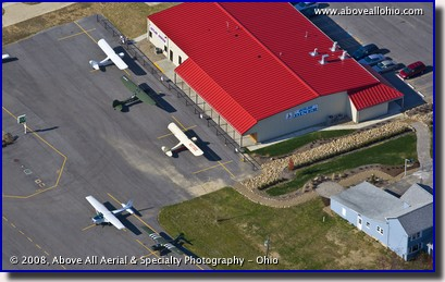 Aerial view of Aeroncas parked at the Skyline Diner at Salem (Ohio) Airpark