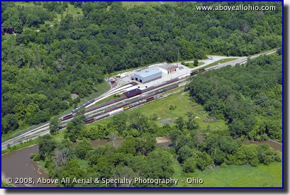 Aerial view of the Cuyahoga Valley Scenic Railroad train yard near Cleveland