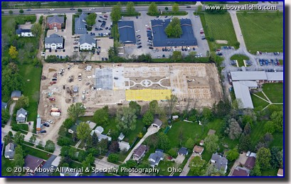 An oblique aerial view showing progress at a construction site in Medina, OH.