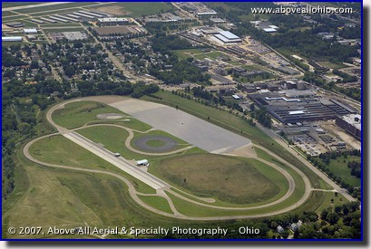 Aerial photograph of a tire testing facility near Akron, OH