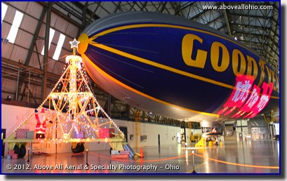 The interior of the hangar at the Goodyear blimp base near Akron, Ohio, decorated in support of a Toys for Tots charity event.