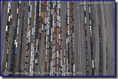 Aerial photograph of a large train yard near Pittsburgh, PA
