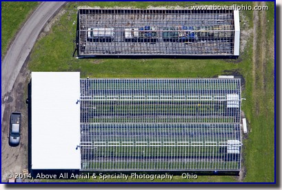 A nearly vertical / straight down aerial view of greenhouses in Celeryville, OH.