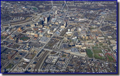 A Wide Angle High Oblique Aerial Photo Of Downtown Akron OH